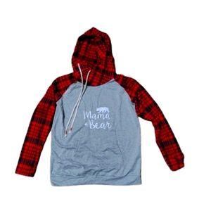 Mama bear hoodie red plaid size medium